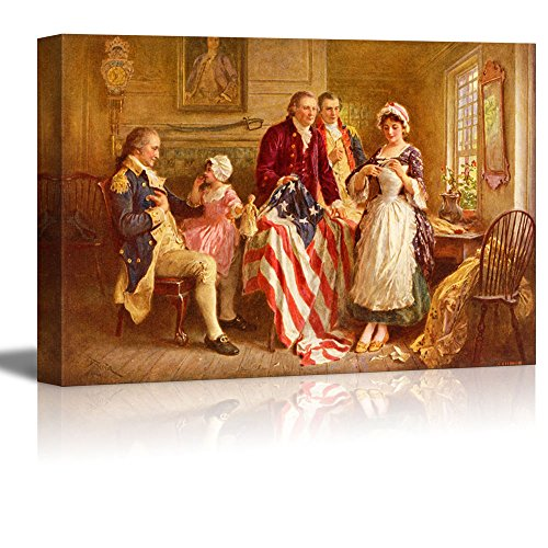 Famous Art Reproductions - wall26 - Betsy Ross 1777 by Jean Leon Gerome Ferris - Canvas Print Wall Art Famous Painting Reproduction - 12