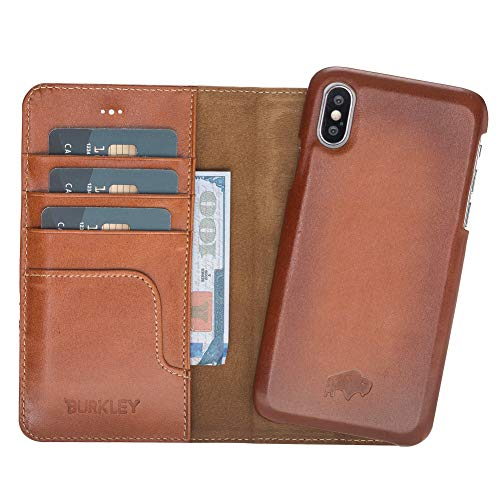 Pieno Full Leather Covered 2 in 1 Detachable Leather Wallet Case with Flap Closure & Premium Snap-on Case, Book Style Cover Compatible Apple iPhone X/XS (Burnished Tan)