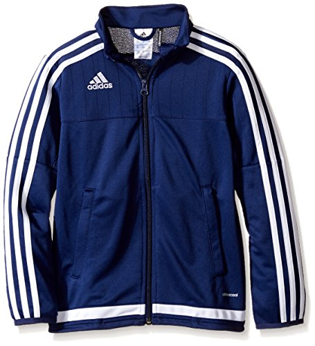 adidas Kids' Soccer Tiro 15 Training Jacket, Dark Blue/White/New Navy, Large