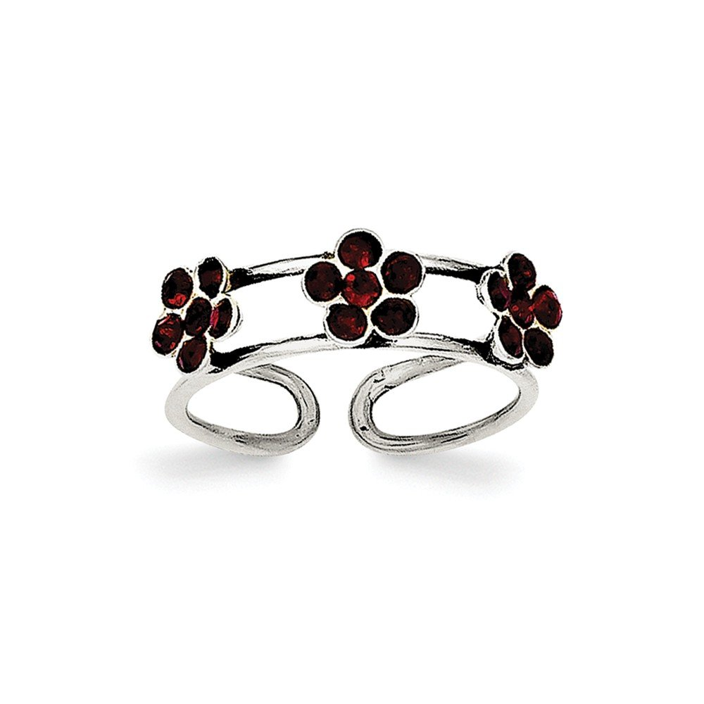 Sterling Silver StelluxT Crystal Floral Toe Ring