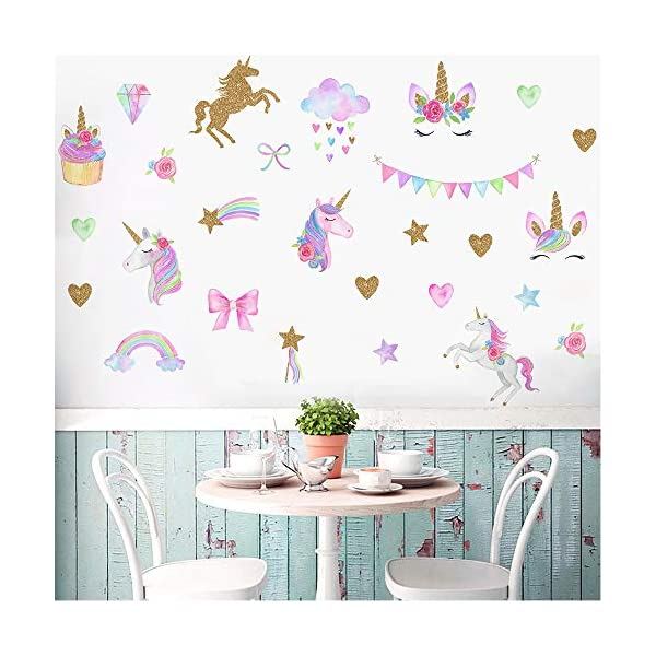 MLM Unicorn Wall Decals, Unicorn Wall Sticker Decor with Heart Flower for Kids Rooms Birthday Gifts for Girls Boys Bedroom Nursery Home Party Home Decor 4
