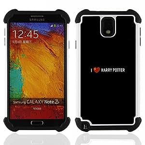 For Samsung Galaxy Note3 N9000 N9008V N9009 - i love harry black movie book heart Dual Layer caso de Shell HUELGA Impacto pata de cabra con im????genes gr????ficas Steam - Funny Shop -