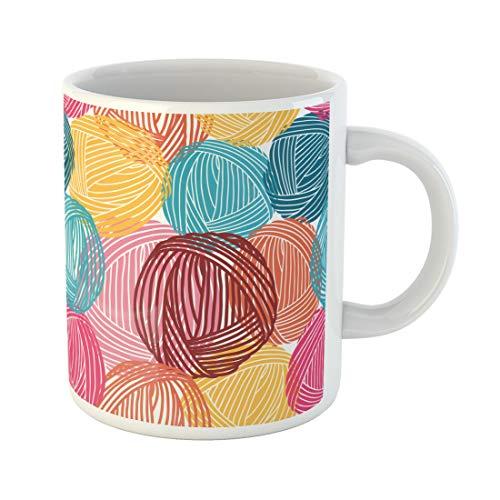Semtomn Funny Coffee Mug Blue Pattern Wool Balls Yarn Skeins Colorful Orange Hand 11 Oz Ceramic Coffee Mugs Tea Cup Best Gift Or Souvenir