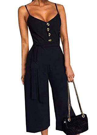 388112e4512 Tootless-Women Wide Leg Pure Color Sexy Backless Sling Trim-Fit Party Jumpsuit  Black