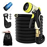 HOMEYARD 50ft Garden Hose - All New Expandable Water Hose with Double Latex Core, 3/4 Solid Brass Fittings, Extra Strength Fabric - Flexible Expanding Hose with Metal 8 Function Spray Nozzle