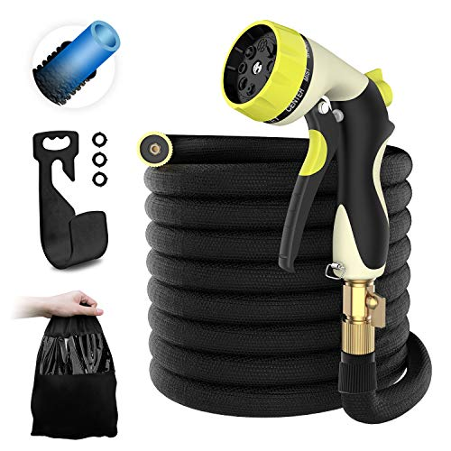 HOMEYARD 50ft Garden Hose – All New Expandable Water Hose with Double Latex Core, 3/4 Solid Brass Fittings, Extra Strength Fabric – Flexible Expanding Hose with Metal 8 Function Spray Nozzle