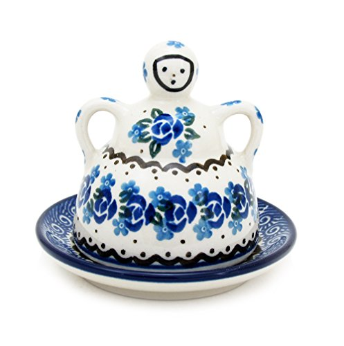 Polish Pottery Mini Cheese (Polish Pottery Handmade Mini Cheese Lady Traditional Stoneware Pattern 112-Ring of Roses)