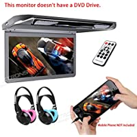 XTRONS 13.3 HD 1080P Video Car MPV Roof Flip Down Slim Monitor Overhead Player Wide Screen Ultra-thin with HDMI Input 2PCS IR Children Headphones Included No DVD(Color: Blue&Pink)