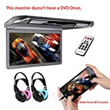 XTRONS 13.3'' HD 1080P Video Car MPV Roof Flip Down Slim Monitor Overhead Player Wide Screen Ultra-thin with HDMI Input 2PCS IR Children Headphones Included No DVD(Color: Blue&Pink)