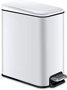 Magdisc Small Trash Can with Lid Soft Close, Rectangular Garbage Can with Removable Inner Wastebasket for Bathroom Bedroom Office, Anti-Fingerprint Finish, 5 Liter/1.3 Gallon, White