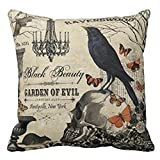 Throw Pillowcase, Kimloog Pumpkin Owl Bat Skull Bones Print Halloween Linen Sofa Cushion Cover Home Decor Zipper Pillow Cases (F)
