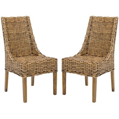 Safavieh Home Collection Oliver Walnut Wicker Arm Chair, Set of 2