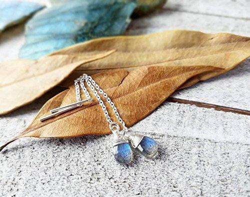 Sterling ear threads | Labradorite earrings | threaders | silver threader earrings | labradorite stone (Heart Labradorite Earrings)