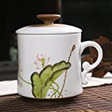 Zen Room Premium Tea Steeping Mug 12oz✪Handcrafted Porcelain Ceramic Tea Mug with infuser and Lid✪Hand Painted Lotus in Chinese Modern Stylish Design✪New Infuser Design