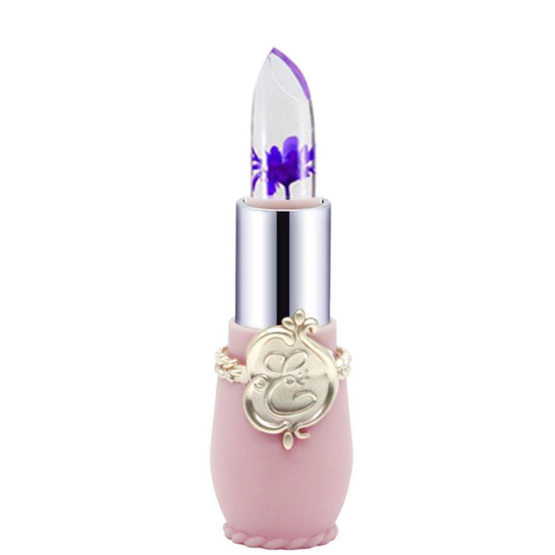 Bringbring Womens Bright Flower Crystal Jelly Lipstick Magic Temperature Change Color Lip Makeup