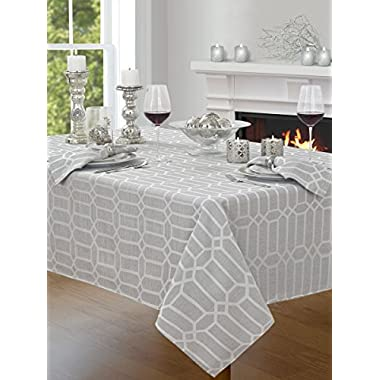 Creative Dining Group Shimmer Fabric Tablecloth, 60 by 120 , Silver