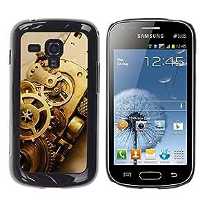 Qstar Arte & diseño plástico duro Fundas Cover Cubre Hard Case Cover para Samsung Galaxy S Duos / S7562 ( Tech Watch Clock Metal Design Symbol Art)