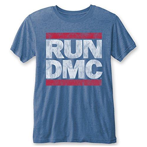 RUN DMC Logo Vintage Burnout Mid Blue T-Shirt - Dmc Run Band