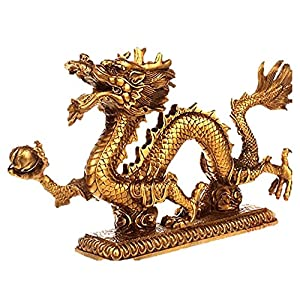 T2C Gold Chinese Feng Shui Dragon Bronze Figurine Statue for powerful Luck & Success