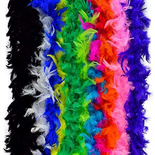 obmwang 12pcs Assorted Colors Feather Boas, Women Girls Dress up Boa, Mardi Gras Boa Costume Party -