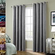 ChadMade Solid Matt Heavy Velvet Curtain Drape Panel Blackout Super Soft Nickle Grommet Grey 50Wx120L Inch (Set of 2 Panels) BIRKIN Collection Theater| Bedroom| Living Room| Hotel