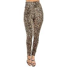 Staand Apparel Women's High Waist Leopard Pattern Printed Leggings Pants(BP7899)