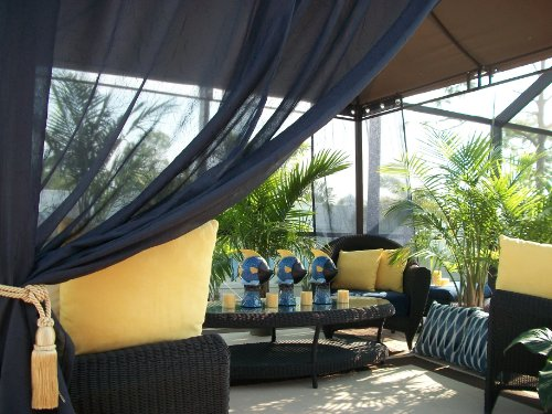 $25.00 Today..Blow out sale! Beautiful Indoor/Outdoor Patio Grommet Drape... Hurry while supplies last!..Cool Navy Semi Sheer.. 48