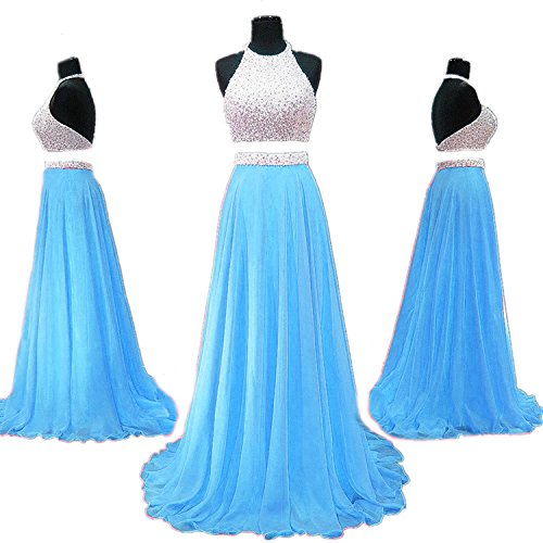 Fanciest Prom 2017 Prom Beaded Sky Pieces Dress Dresses Backless Long Blue Two A8aRArqw