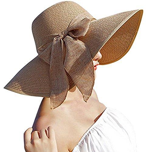 DRESHOW Womens Big Bowknot Straw Hat Floppy Foldable Roll up Beach Cap Sun Hat UPF 50+ Khaki