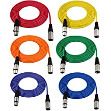 GLS Audio 12 feet (3.65 meters) Mic Cable Patch Cords - 12ft XLR Male to XLR Female Colored Cables - Balanced Mike Cord - 6 PACK