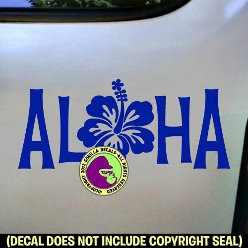 O ALOHA Hibiscus Hawaii Flower Hawaiian Vinyl Decal Sticker Home Front Door Window Wall Car Sign ()