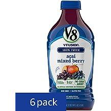 V8 V-Fusion 100% Juice, Acai Mixed Berry, 46 oz. Bottle (Pack of 6)