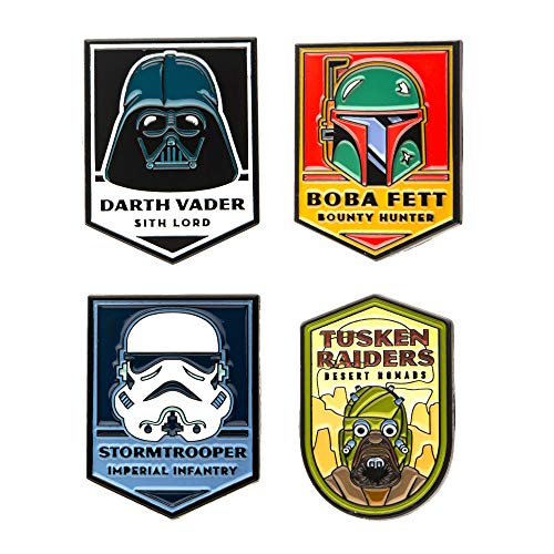 Star Wars Jewelry Unisex Adult Dark Side of The Force Base Metal Lapel Pin Set (4 Piece), Multi Color, One Size
