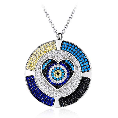 - RHHY-FIROD 925 Sterling Silver, Round Wheel Love Ladies Pendant Necklace, Hand-Set Zircon Tail Extension Chain Design Adjustable Production