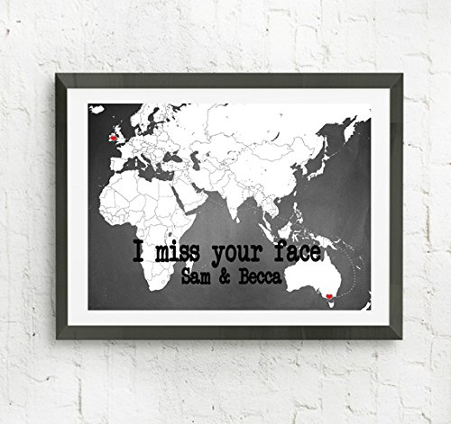 Amazoncom I Miss Your Face Personalized Map Print Long Distance