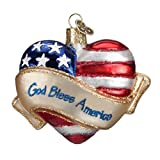 Old World Christmas Ornaments: God Bless America Heart Glass Blown Ornaments for Christmas Tree
