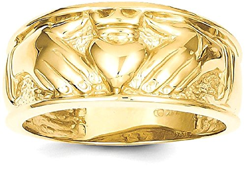 ICE CARATS 14k Yellow Gold Mens Irish Claddagh Celtic Knot Wedding Ring Band Size 10.00 Man Fine Jewelry Dad Mens Gift Set