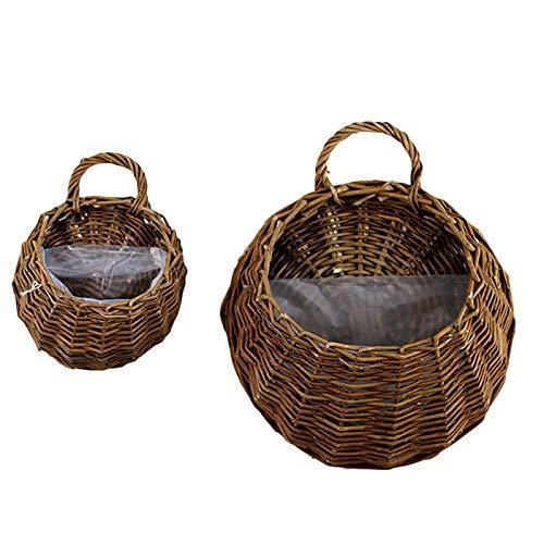 SeedWorld Wind Chimes & Hanging Decorations - Natural Wicker Flower Basket Pot Rattan Flower Pot Hanging Vase Basket Plants Holder Storage Container Home Garden Decoration 1 PCs ()