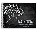Chalkboard Blue and White Tree Bar Mitzvah Guest Book (8 x 6 inches)