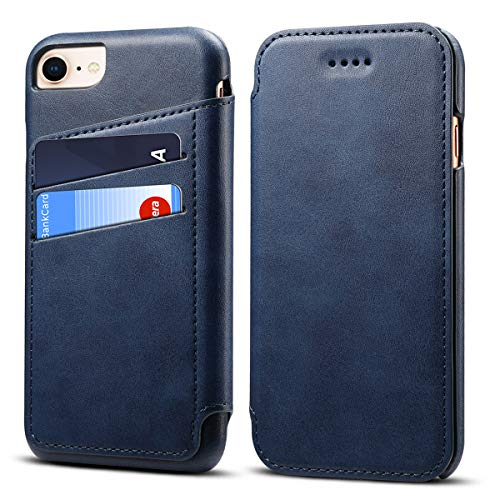 Case Compatible iPhone 8 4.7'', Leather Folio Wallet Case Full Protection Cover Blue ()