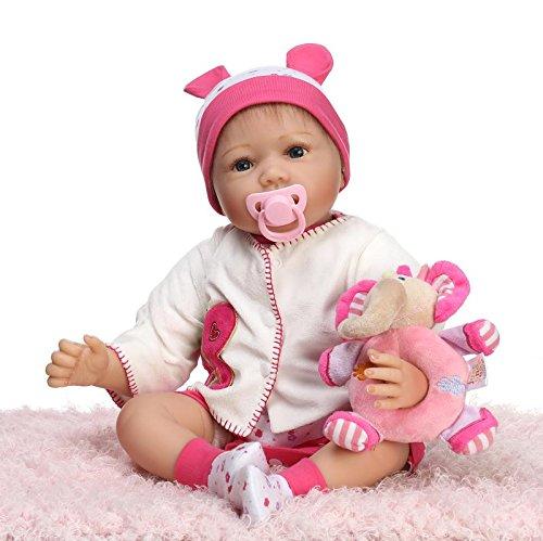 NPKDOLL Reborn Baby Doll Soft Simulation Silicone Vinyl 22inch 55cm Lifelike Vivid Toy Boy Girl Pink Elephant (Halloween Rag Doll Face Paint)