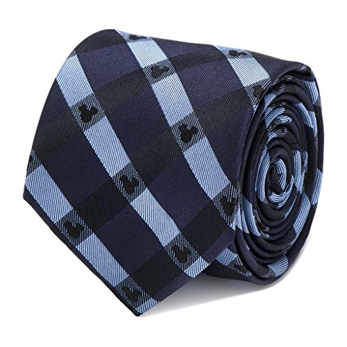 Disney Mickey Mouse Logo Blue Plaid Tie Necktie (Blue Neckwear)