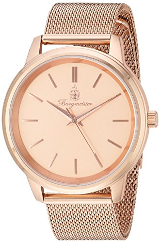 Burgmeister Women's Quartz Stainless Steel Casual Watch, Color:Rose Gold-Toned (Model: BMS02-368)
