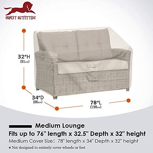 100/% Waterproof Outdoor Deep Sofa Cover,Durable Patio Deep Bench Cover Honest Patio Deep Bench Loveseat Cover 60 L x 42 D x 30 H,Beige Lawn Patio Furniture Covers with Air Vent