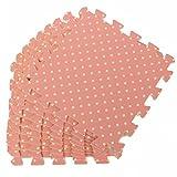 9PCS Wood Interlock EVA Foam Floor Puzzle Pad Work Gym Mat Kid Safety Play Rug (Pink Dot)