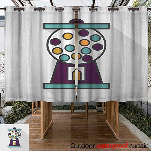 RenteriaDecor Home Patio Outdoor Curtain Gum Ball Machine Flat icon with Long Shadow eps W108 x L72 ()