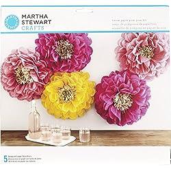 Martha Stewart Crafts 44-20203 Poppy Flowers Tissue Pom-Pom Kit, Pink and Yellow