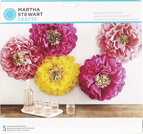 Martha Stewart Crafts 44-20203 Poppy Flowers Tissue Pom-Pom Kit, Pink and Yellow (Paper Flower Pom)
