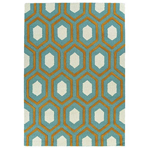 Kaleen Rugs Spaces Collection SPA03-91 Teal Hand Tufted Rug, 5′ x 7′