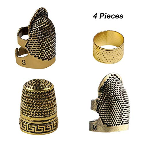 For Sale! 4 Pieces Sewing Thimble, Metal Copper Sewing Thimble Finger Protector Adjustable Finger Sh...